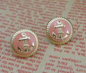Cute Anchor Stud Earring IN Gold