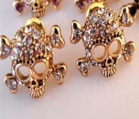 Skull Crystal Stud Earrings IN Gold