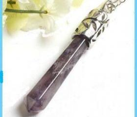 Hexagon Amethyst Gemstone Pendulum Pendant