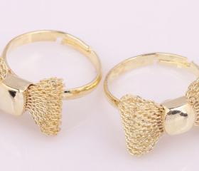 Golden Cute Knitted Bowknot Adjustable Ring