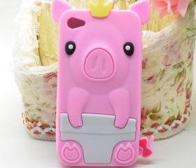 Lovely Crown Pig Soft Silicone Cover Skin Case For iPhone 4 4S 4G New