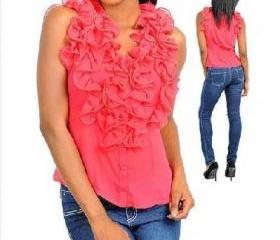 New Women's Casual Sleeveless Button Down Shirt Ruffled Blouse Dress Top Pink