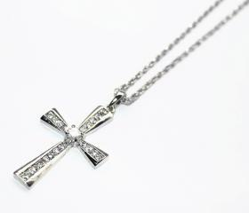 Dazzling Stainless Steel Trendy Cross Pentant Necklace with Swarovski Crystals