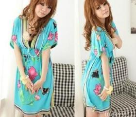 Korea Girl Flower Kimono Sleeve V Neck Mini Dress S/M