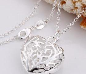 .925 Sterling Silver Hollow Heart Pendant Necklace + Gift box