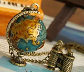 vintage globe telescope Pendant Necklace