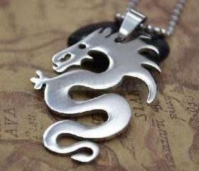 Stainl Steeless Mens Dragon Pendant Necklace, Free Shipping!
