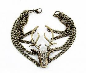 Rhinestone Deer Bracelet
