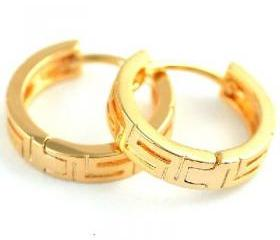  Classic Womens 14K Yellow Color Gold Filled Hoop Earrings