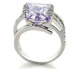 5 CT Rhodium Plated Light Amethyst CZ Cocktail Ring, Size 7