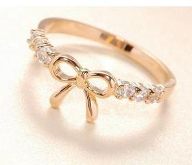 New Fashion Cute Bowknot with Rhinestone Ring Bow Finger Ring, Size 6.25