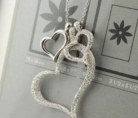 Fashion Lovely Three Silver Sweet Love Hearts Pendant Necklace