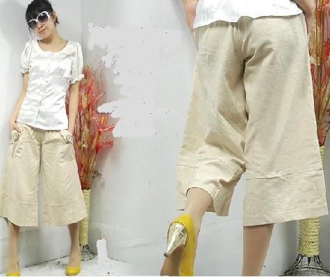 Casual Pattern Button Embellished Pants Khaki