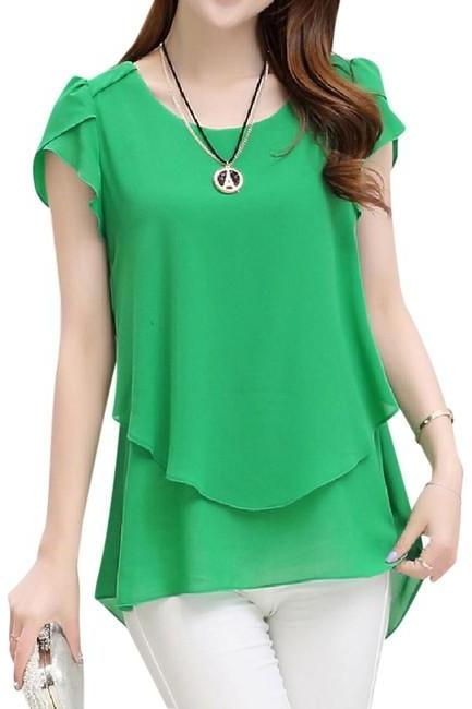 Size M, New Green Elegant Chiffon Short Sleeve O Neck Women Top
