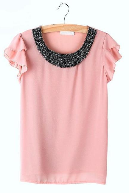 Size M, New Pink Women Loose Chiffon Casual Beading Pullover Shirt Top