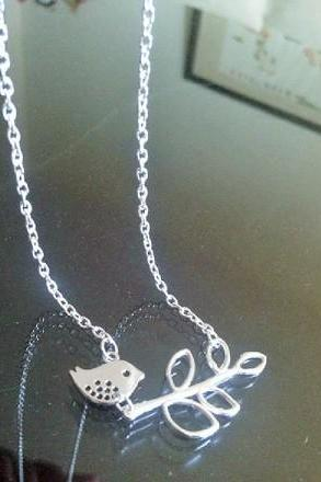 New Bird and Branch Lariat Necklace, Silve Plated Bird Branch Necklace