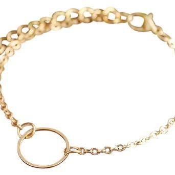 Gold Plated Circle Pendant Chain Bracelet, Jewelry