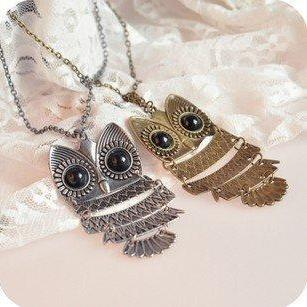TWO Vintage Retro Antique Copper Bronze and Silver Owl Necklace -ships from USA