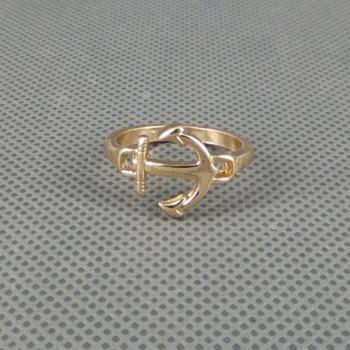 Simple Charm Gold Metal Nautical Anchor Ring