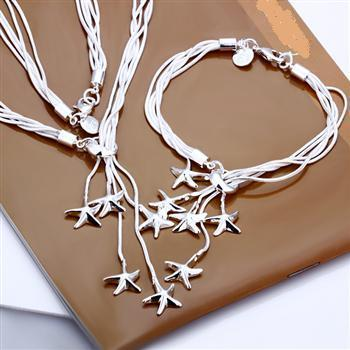 Gorgeous .925 Sterling Silver Plated Dangling Starfish Necklace + Bracelet Set,
