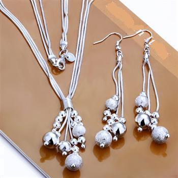 Gorgeous .925 Sterling Silver Plated Dangling Bead Necklace + Earrings Set,