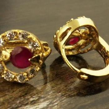 Cut Ruby CZ in 14K Yellow Gold Filled Earrings