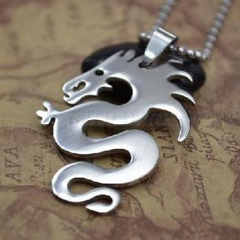 Stainl Steeless Mens Dragon Pendant Necklace